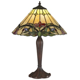 SB Z-Lite Multicolored Tiffany 1-light Table Lamp in Chestnut Bronze
