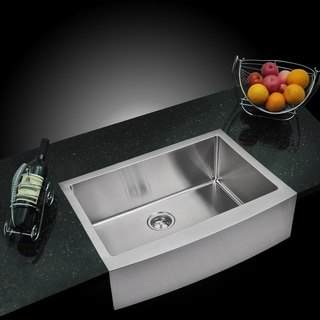 Water Creation 'SSS-AS-3022B' 30x22-inch Stainless Steel Apron Front Kitchen Sink Set