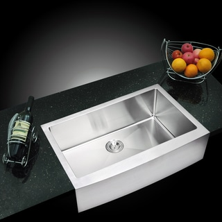 Water Creation 'SSS-AS-3322B' 33x22-inch Stainless Steel Apron Front Kitchen Sink Set