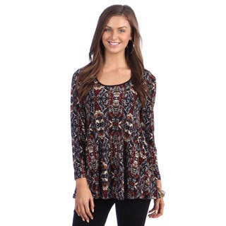 24/7 Comfort Apparel Women's Multicolor Long-sleeve Tunic