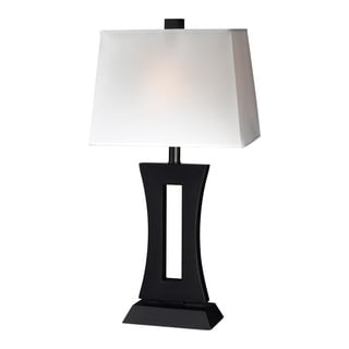 lite 1 light black wood table lamp with white shade. Black Bedroom Furniture Sets. Home Design Ideas
