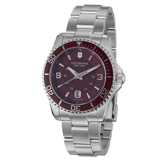 Swiss Army Men's 'Maverick' Red Dial Stainless Steel Bracelet Watch