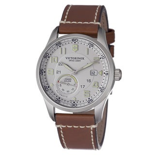 Swiss Army Men's 241576 'Air Boss' Silver Dial Brown Leather Strap Watch