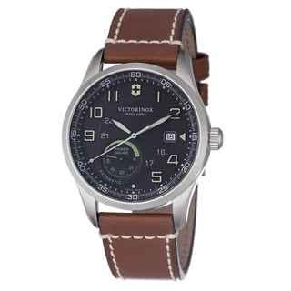 Swiss Army Men's 241575 'Air Boss' Black Dial Brown Leather Strap Watch