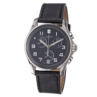 Victorinox Swiss Army Men's 'Chrono Classic' Black Dial Black Leather Strap Watch