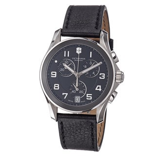 Victorinox Swiss Army Men's 241545 'Chrono Classic' Black Dial Black Leather Strap Watch