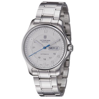 Swiss Army Men's 'Officers' Silver Dial Stainless Steel Day Date Watch