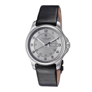 Victorinox Swiss Army Men's 241550 'Officers' Silver Dial Black Leather Strap Watch