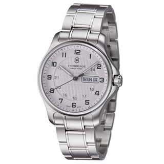 Swiss Army Men's 241551 'Officers' Silver Dial Stainless Steel Day Date Watch