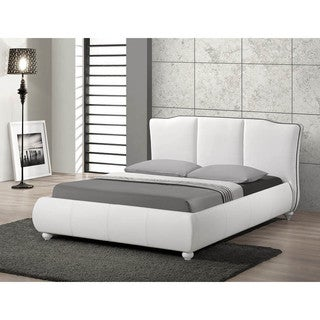 Baxton Studio Goodrick White Bed with Upholstered Headboard