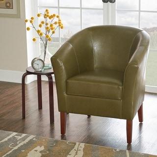 Linon Simon Dark Walnut Upholstered Flared Arm Cedar Club Chair