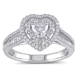 Miadora 14k White Gold 3/4ct TDW IGL-certified Diamond Heart Engagement Ring (G-H, I1-I2)