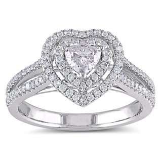 Miadora Signature Collection 14k White Gold 3/4ct TDW IGL-certified Diamond Heart Engagement Ring (G-H, I1-I2)