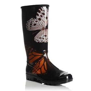 Henry Ferrera Women's Butterfly Printed Rubber Rain Boots