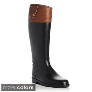 Henry Ferrera Women's Black Mixed Media Riding Rain Boots
