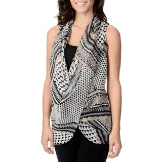Chelsea & Theodore Women's Tribal Print Sheer Overlay Top