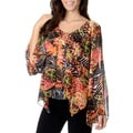 Chelsea & Theodore Women's Jungle Print Sheer Top