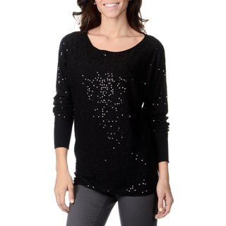 Chelsea & Theodore Women's Black Sequin Knit Top