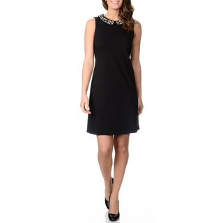 Grace Elements Women's Black Peter Pan Collar Dress