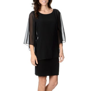 Chelsea & Theodore Women's Black Sheer Overlay Dress