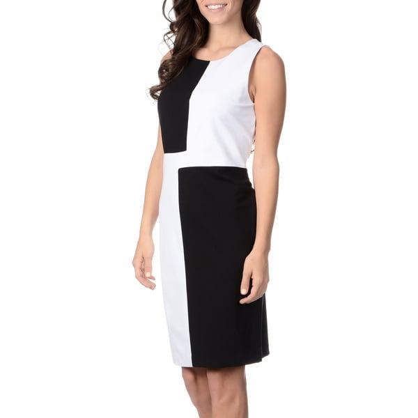Grace Elements Women's Black/ White Colorblocked Shift Dress