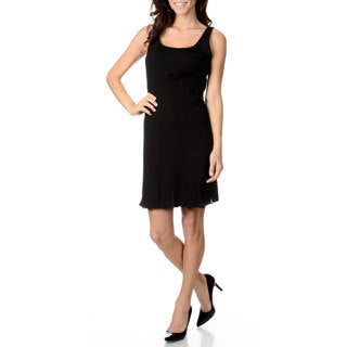 Chelsea and Theodore Women's Black Pleated Trim Knit Dress