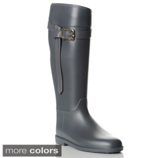 Henry Ferrera Women's Belted Knee-high Rubber Rain Boots