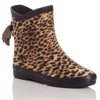 Henry Ferrera Women's Leopard-Print Fabric/Rubber Rain Booties