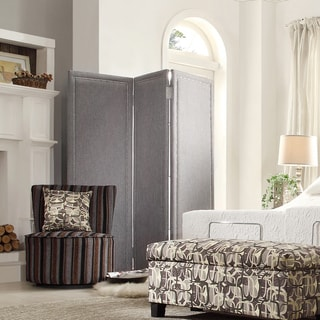 Inspire Q Keenan 3-panel Grey Linen Nailhead Floor Screen