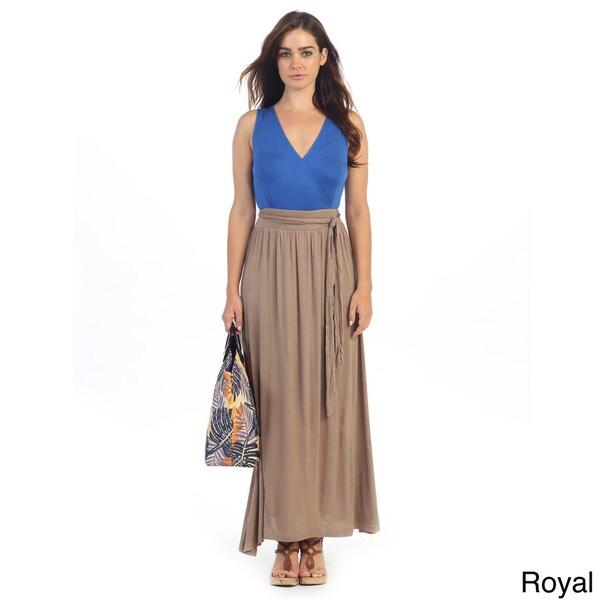 Hadari Women's Contemporary Color Block Maxi Dress