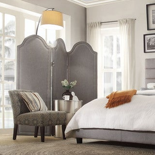 Inspire Q Keenan 3-panel Grey Linen Curved Top Floor Screen
