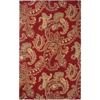 Hand-Tufted Handicraft Imports 'Aisling' Red Wool Blend Area Rug (5' x 8')