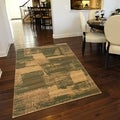 Cream/ Dark Gold Abstract Rectangle Rug (3'11 x 5'3)