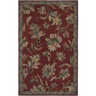 Hand-Tufted Handicraft Imports 'Aisling' Red/ Green Wool Blend Area Rug (5' x 8')