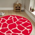 Hand-tufted Animal-print Hot Pink Rug (5' Round)