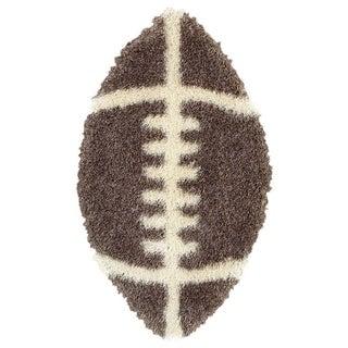 LNR Home Senses Tri-mocha/ Beige Football Shag Rug (2' x 4')