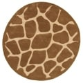 Hand Tufted Natural Tan Animal Print Round Rug (7'9 x 7'9)