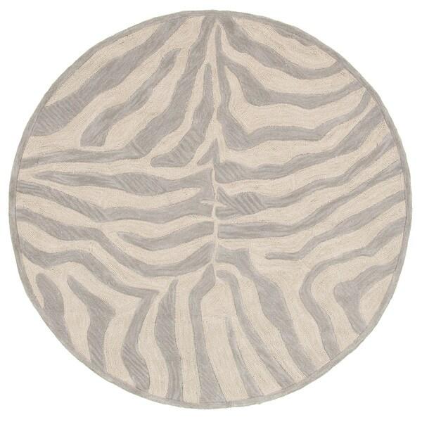 LNR Home Fashion Taupe/ Silver Geometric Animal-print Rug (7'9 Round)