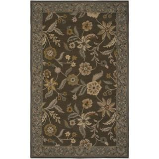 Hand-Tufted Handicraft Imports 'Aisling' Brown/ Green Wool Blend Area Rug (5' x 8')