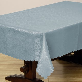 Two-tone French Blue Floral Damask 57x138-inch Rectangular Tablecloth