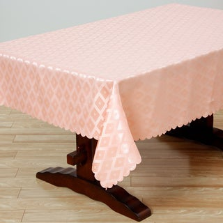 Two-tone Peach Diamond Damask 57x95-inch Rectangular Tablecloth