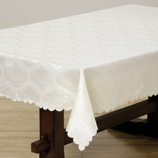 Two-tone Cream Shell Damask 57x95-inch Rectangular Tablecloth