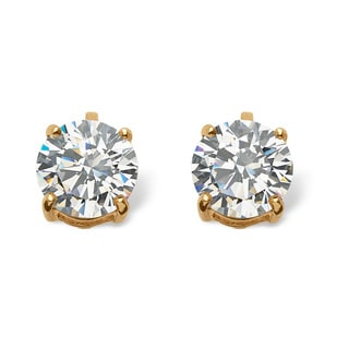 PalmBeach 6 TCW Cubic Zirconia Clip-On Earrings 18k Gold-Plated Classic CZ