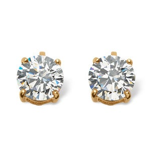Ultimate CZ 18k Gold Overlay 6 TCW Cubic Zirconia Earrings