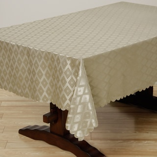 Two-tone Tan Diamond Damask 57x138-inch Rectangular Tablecloth