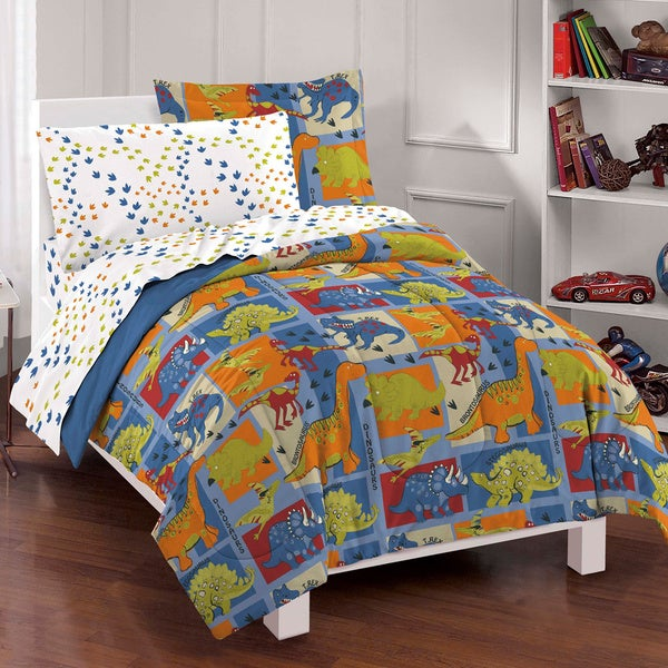 Dinosaur Blocks 7-piece Bed in a Bag with Sheet Set