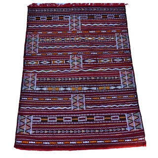 Hand-Woven Moroccan Kilim Rug (4'2 x 6'2)
