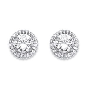 PalmBeach 4.91 TCW Cubic Zirconia Stud Earrings Platinum-Plated Classic CZ