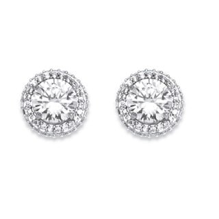 Ultimate CZ Platinum-Plated 4 7/8 TCW Cubic Zirconia Stud Earrings