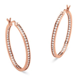 Ultimate CZ Rose Gold-Plated 1 1/2ct TCW Cubic Zirconia Hoop Earrings